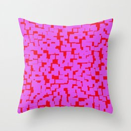 Red and pink squares pattern Throw Pillow