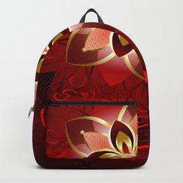 Abstract red flower Backpack