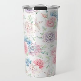 Blush pink teal watercolor hand painted cactus flowers Travel Mug