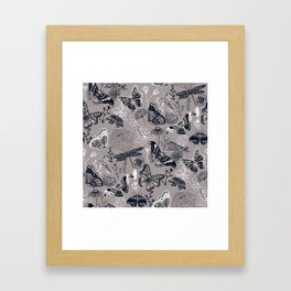 Dragonflies, Butterflies and Moths With Plants on Grey Framed Art Print