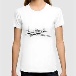 P-40 Curtiss Wright Warhawk Rock On WWII Shark Airplane Pilot T-shirt