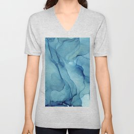 Blue Marble Waves Ink Painting Unisex V-Neck