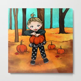 Pumpkin Picking Metal Print