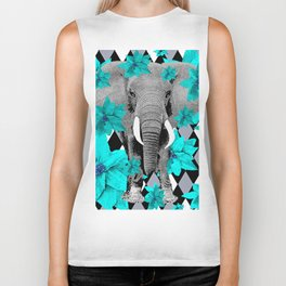 ELEPHANT and HARLEQUIN BLUE AND GRAY Biker Tank