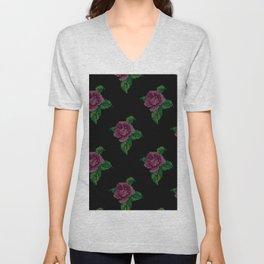 Rose cross stitch - black Unisex V-Neck
