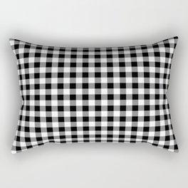 Medium Black Christmas Gingham Plaid Check Rectangular Pillow