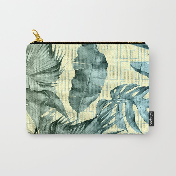 Simply Island Mod Palm Leaves on Pale Yellow Carry-All Pouch