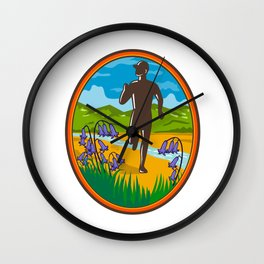 Marathon Runner and Bluebells Oval Retro Wall Clock