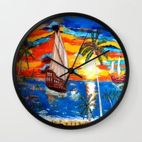 pirates Wall Clocks featuring PIRATES by Aat Kuijpers