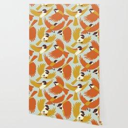 Chickadees in Orange Wallpaper