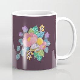 Gouache Florals on Maroon Coffee Mug