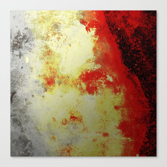 Into The Heat - Black, red, yellow and silver abstract painting Canvas Print
