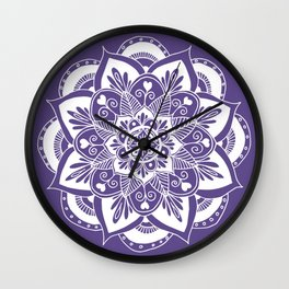 Ultraviolet Flower Mandala Wall Clock