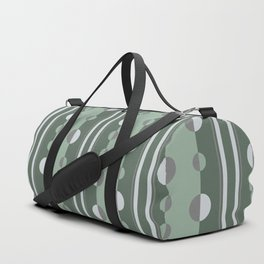 Circles and Stripes Geometric Pattern in Green and Gray Duffle Bag