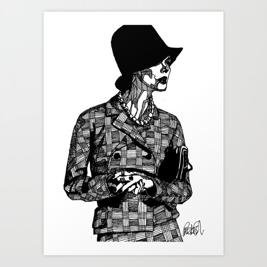 B&W Fashion Illustration - Tweed Art Print