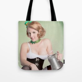"""Luck of the Irish"" - The Playful Pinup - St. Patrick's Day Pinup Girl by Maxwell H. Johnson Tote Bag"