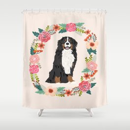 bernese mountain dog floral wreath dog gifts pet portraits Shower Curtain
