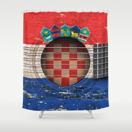 Old Vintage Acoustic Guitar with Croatian Flag Shower Curtain