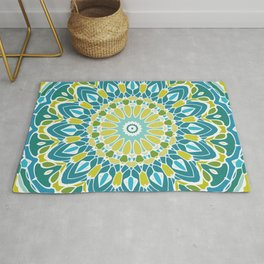 Beach Blue and Lime Green Mandala Rug
