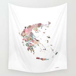Greece map portrait Wall Tapestry