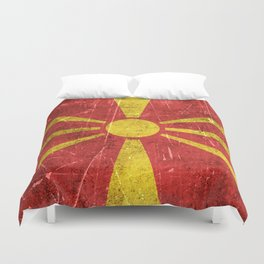 Vintage Aged and Scratched Macedonian Flag Duvet Cover