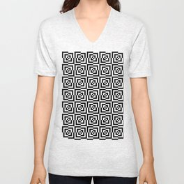 Black & White Squares Unisex V-Neck
