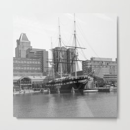 A US Frigate Ship in Baltimore, MD Metal Print