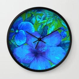 Vintage Tropical Flowers (Blue) Wall Clock