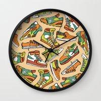 sneaker Wall Clocks featuring Sneaker Lover in Orange by Artwork by Brie