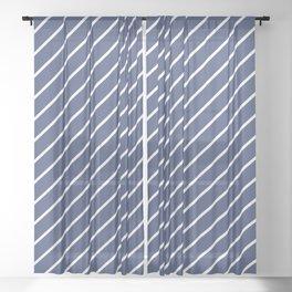 Blue Diagonal Lines Sheer Curtain