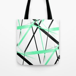 Criss Crossed Mint Green and Black Stripes on White Tote Bag