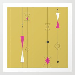 Midcentury gold and pink Art Print