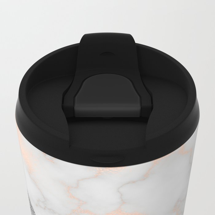 Rose gold marble and silver glitter Metal Travel Mug
