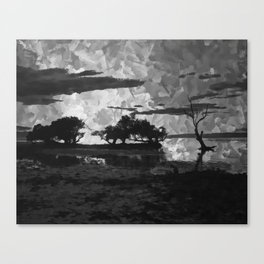 Sunset over the Lake Watercolor (Black and White) Canvas Print
