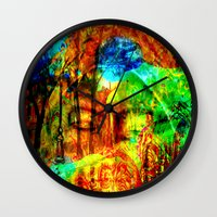 meditation Wall Clocks featuring  Meditation by shiva camille