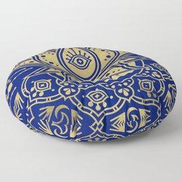 Sacred Lotus Mandala – Navy & Gold Palette Floor Pillow