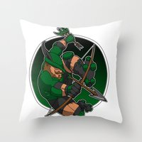 robin hood Throw Pillows featuring Robin Hood Roller Derby logo by Andrew Mark Hunter