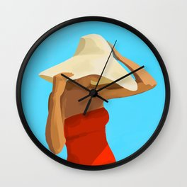 At The Beach: Red Suit Wall Clock
