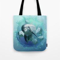 dolphins Tote Bags featuring Dolphins by Lynne Hoad