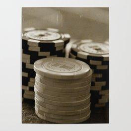 Casino Chips Stacks-B&W Poster