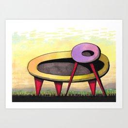 Retro Spaceship Architectural Design 55 Art Print