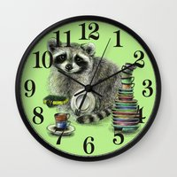 raccoon Wall Clocks featuring Raccoon by Anna Shell
