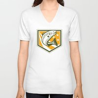 trout V-neck T-shirts featuring Trout Jumping Retro Shield by patrimonio
