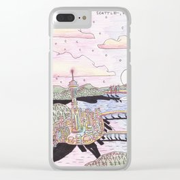 Seattle Black Ink & Colored Pencil Clear iPhone Case