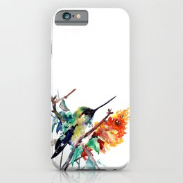 Hummingbird and Orange Flowers, tropical Olive green iPhone Case
