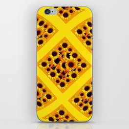 ABSTRACT GOLDEN YELLOW SUNFLOWERS  PATTERN  DESIGN iPhone Skin