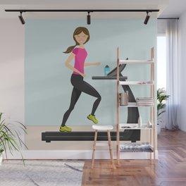 Girl Running On A Treadmill Cartoon Illustration Wall Mural