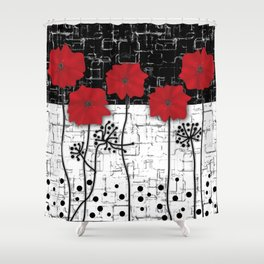 Retro. Red poppies on white background sulfur. Applique. Shower Curtain