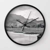 vietnam Wall Clocks featuring Vietnam Landscape by Ewan Arnolda