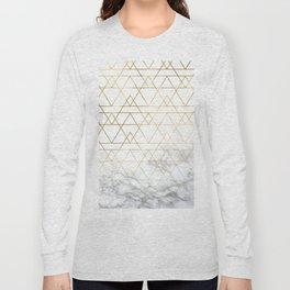 Gold Geometric Marble Deco Design Long Sleeve T-shirt